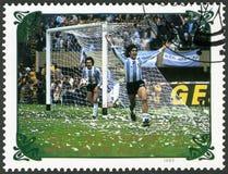 NORDKOREA - 1985: shower Argentina vs Nederländerna 1978, serie världscupfotboll 1970-1986 Royaltyfri Bild