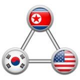 Nordkorea, USA och Sydkorea krig Arkivfoton