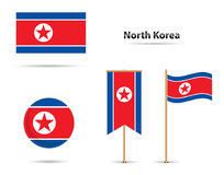 Nordkoreaflaggor Royaltyfri Fotografi