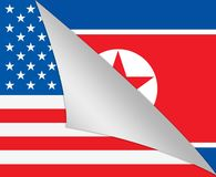 Nordkorean och diplomatisk illustration för flagga 3d för USA vektor illustrationer