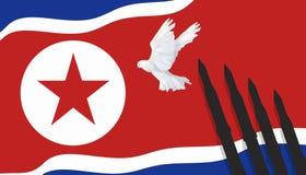 Nordkorean som är kärn- bombarderar, det kärn- provet, raket på fred för flaggaNordkoreaillustration och duvan stock illustrationer