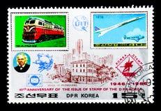 Nordkoreanen stämplar MiNr 1559 och 1787, 40th årsdagserie, Arkivfoton