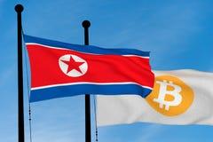 Nordkoreansk flagga och Bitcoin flagga Arkivfoto