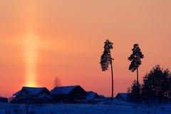 Nordlicht über einem Gutshaus in Island Stockbild