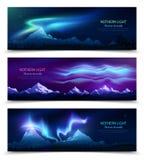 Nordlicht-realistische Fahnen stock abbildung