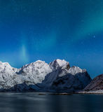 Nordlichter über Lofoten-Bergen Stockfotografie