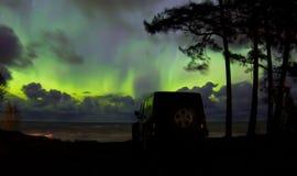 Nordlichter auf dem Ladogasee Stockbild