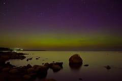 Nordlichter auf dem Ladogasee im April 2016 Stockfotografie