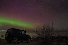 Nordlichter auf dem Ladogasee, Leningrad, Russland Stockbild