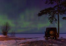 Nordlichter auf dem Ladogasee, Leningrad, Russland Stockfotos