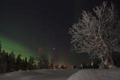 Nordlichter, finnisches Lappland Lizenzfreie Stockfotos