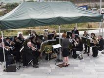 Nordlig mässingsmusikband på den Burnley kanalfestivalen i Lancashire Fotografering för Bildbyråer