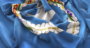 Nordlig Mariana Islands Flag Ruffled Beautifully vinkande makro C Fotografering för Bildbyråer