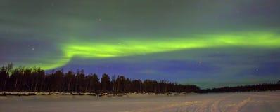 Nordliga lampor (norrsken) över snowscape Arkivfoto
