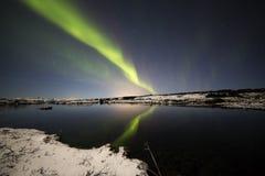 Nordliga ljus Þingvellir III Royaltyfri Foto