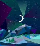 Nordliga ljus över berg i vinternatt med månen Arkivfoton