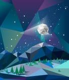 Nordliga ljus över berg i vinternatt med månevektorn Royaltyfria Foton