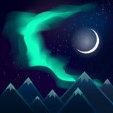 Nordliga ljus över berg och månen Arkivfoton
