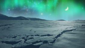 Nordliga ljus över den iskalla slätten arkivfilmer