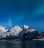Nordliga ljus över Lofoten berg arkivbild