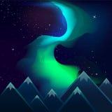 Nordliga ljus över synlig stjärnavektor för berg Arkivfoton