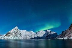 Nordliga ljus över vinterberg av Lofoten, Norge med st Royaltyfri Fotografi
