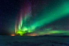 Nordliga ljus Aurora Borealis arkivbild