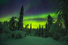 Nordliga ljus i fullföljande Lapland arkivfoto