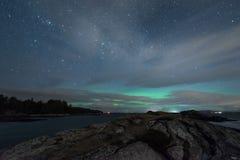Nordliga ljus i Norge royaltyfri foto