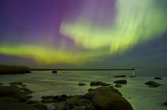 Nordliga ljus, Lake Ladoga, Ryssland Royaltyfria Bilder