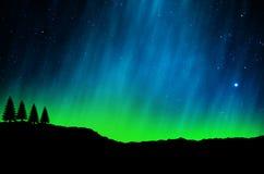 Nordliga ljus, morgonrodnad arkivfoton