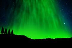 Nordliga ljus, morgonrodnad arkivbild