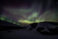 Nordliga ljus (norrsken) i Alaska royaltyfria foton