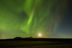 Nordliga ljus (norrsken) över Tromso Arkivfoto