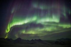 Nordliga ljus på den arktiska himlen - Svalbard Royaltyfri Bild