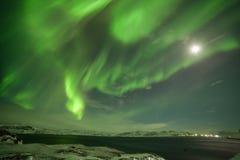Nordliga ljus på Kola Peninsula Teriberka arkivbilder