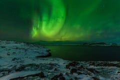 Nordliga ljus på kusten av det arktiska havet Royaltyfri Bild