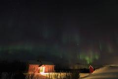 Nordliga ljus på Lofoten öar Arkivfoton