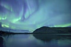 Nordliga ljus reflekterar på; öl Royaltyfria Foton