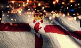 Nordligt - för Bokeh för natt för Irland nationsflaggaljus bakgrund abstrakt begrepp Royaltyfria Bilder