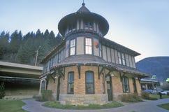 Nordligt Stillahavs- bussgaragejärnvägmuseum, Wallace RR station, Idaho Arkivfoton
