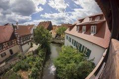 Nordlingen是浪漫路的一个历史的城市在巴伐利亚,德国 库存图片