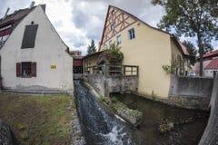 Nordlingen是浪漫路的一个历史的城市在巴伐利亚,德国 免版税库存照片