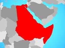 Nordost-Afrika auf Karte lizenzfreie abbildung
