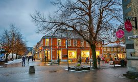 Nordre and Kongen streets in Trondheim, Norway. Trondheim/Norway - 12/07/2017 : Nordre and Kongen streets in the Trondheim center decorated for Christmas in royalty free stock photos