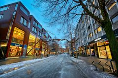 Nordre street in Trondheim, Norway. Trondheim/Norway - 12/07/2017 : Nordre street in the Trondheim center decorated for Christmas in December stock image