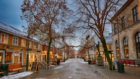 Nordre street in Trondheim, Norway. Trondheim/Norway - 12/07/2017 : Nordre street in the Trondheim center decorated for Christmas in December royalty free stock photo