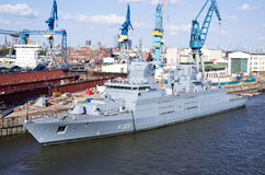 NORDRHEIN-WESTFALEN. F223 the second of four 125-class guided missile frigates for the German Navy, fitting out at Blohm+Voss shipyards Stock Photo