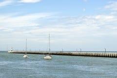 Nordsee mit Pier Stockbild