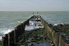 Nordseestrand mit Wellenbrecher, die Niederlande Lizenzfreies Stockfoto